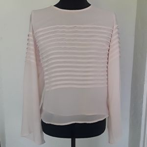 Vince Camuto Chiffon Bell Sleeve Pleated Top